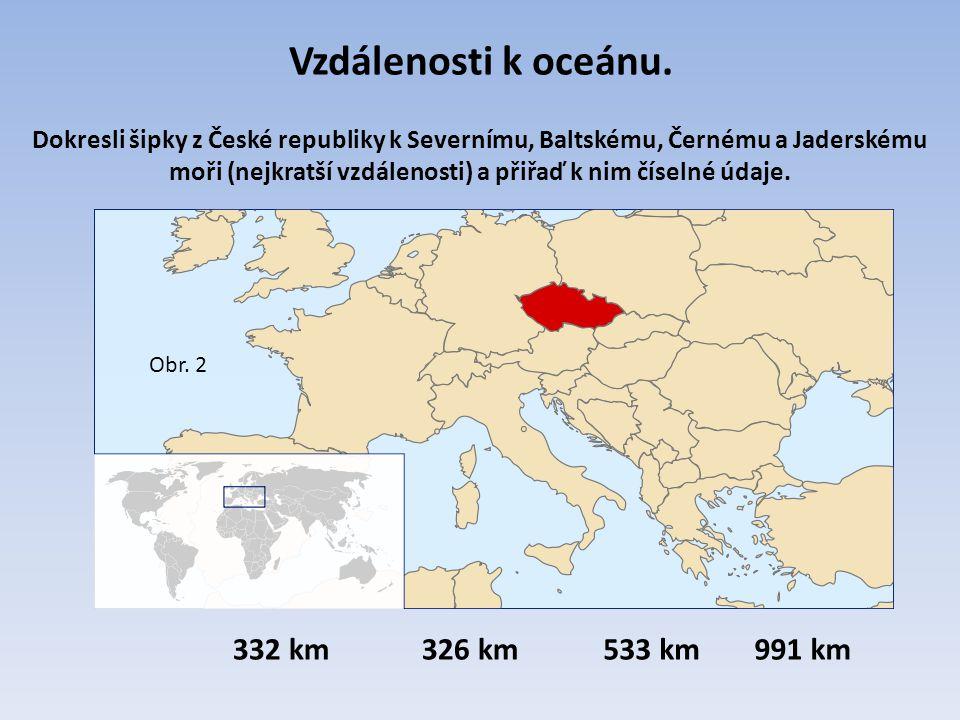 Vzdálenosti k oceánu. 332 km 326 km 533 km 991 km