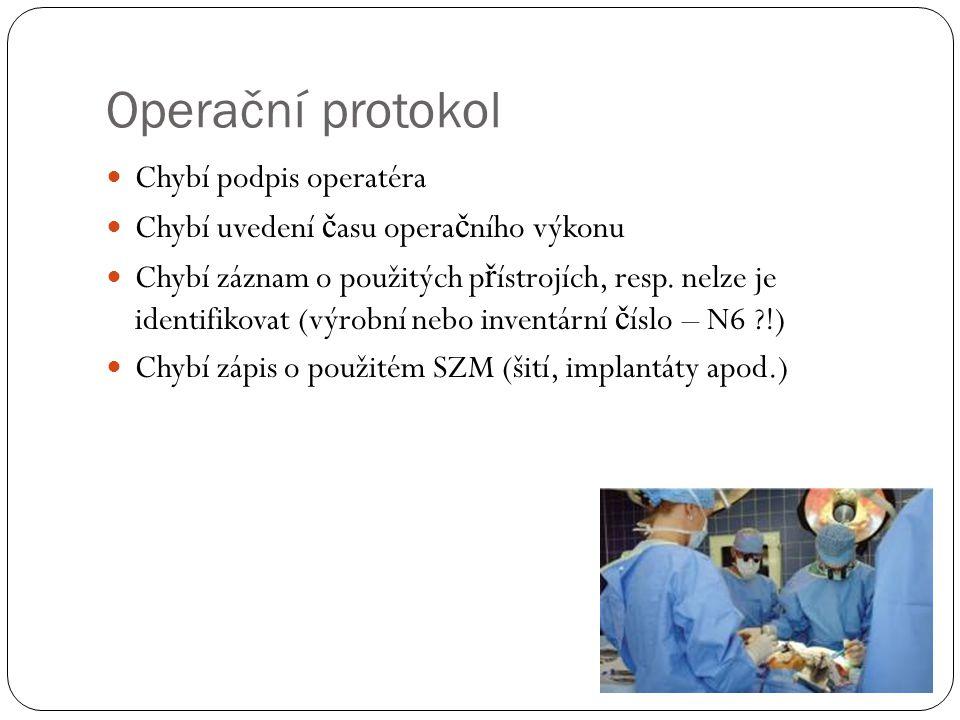 Operační protokol Chybí podpis operatéra