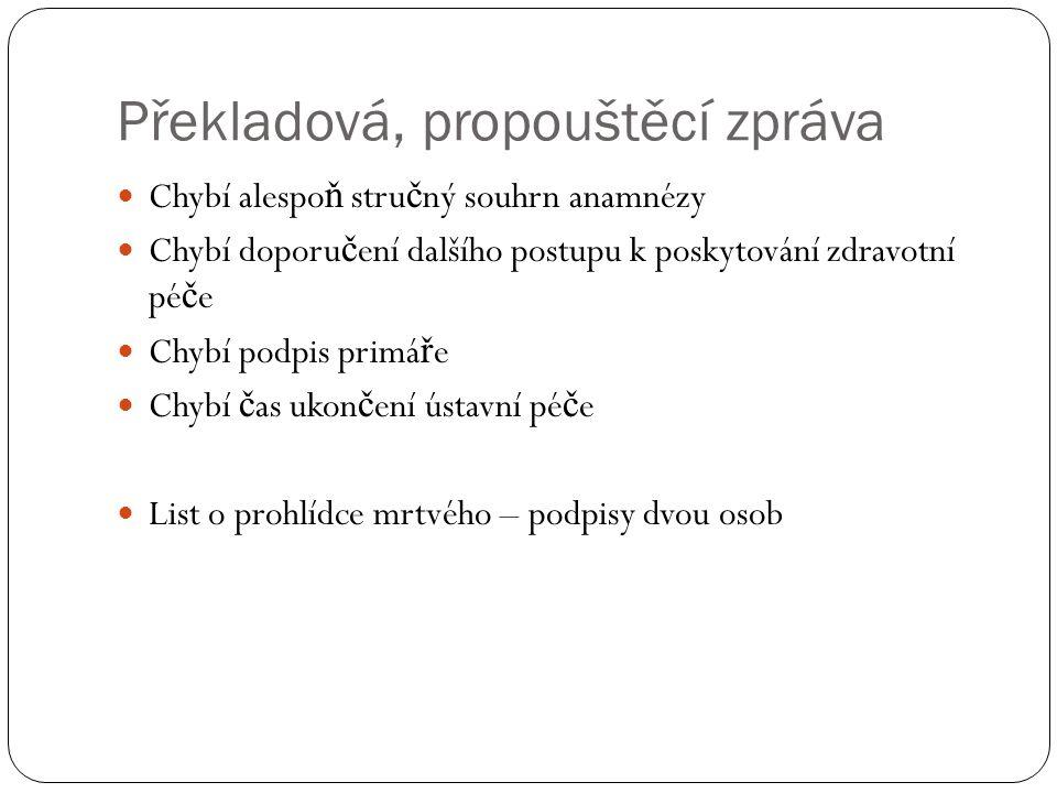 Překladová, propouštěcí zpráva