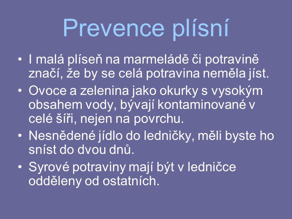 Prevence plísní I malá plíseň na marmeládě či potravině značí, že by se celá potravina neměla jíst.