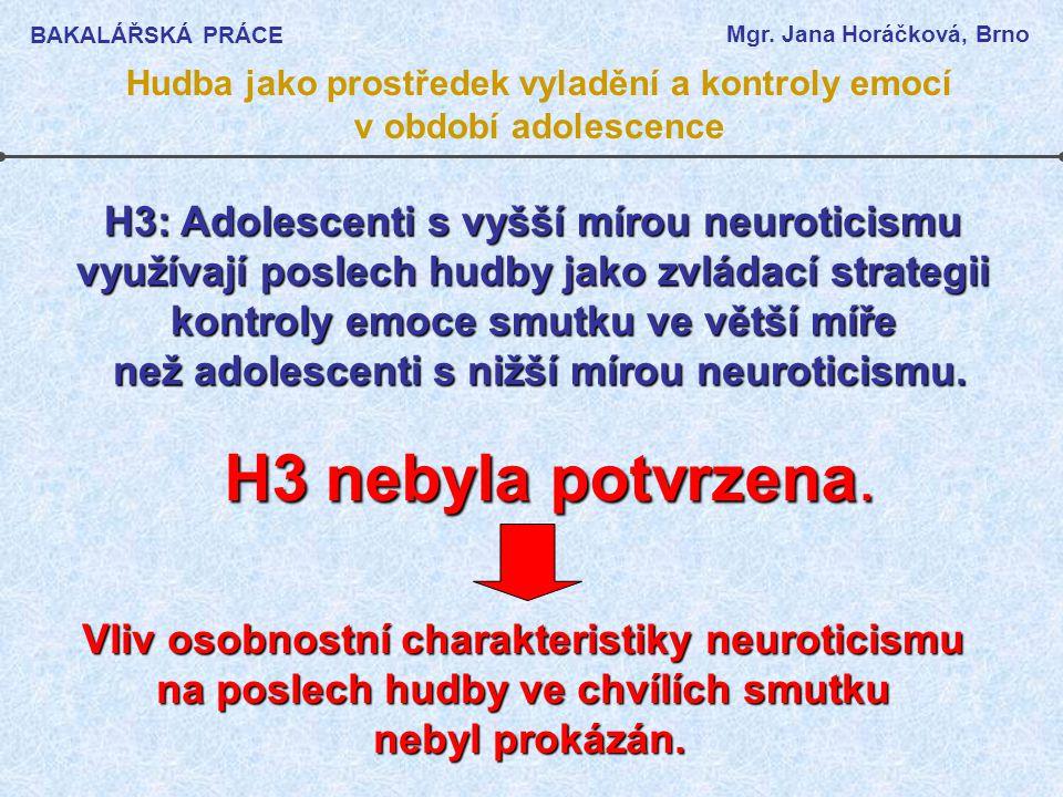 H3 nebyla potvrzena. H3: Adolescenti s vyšší mírou neuroticismu