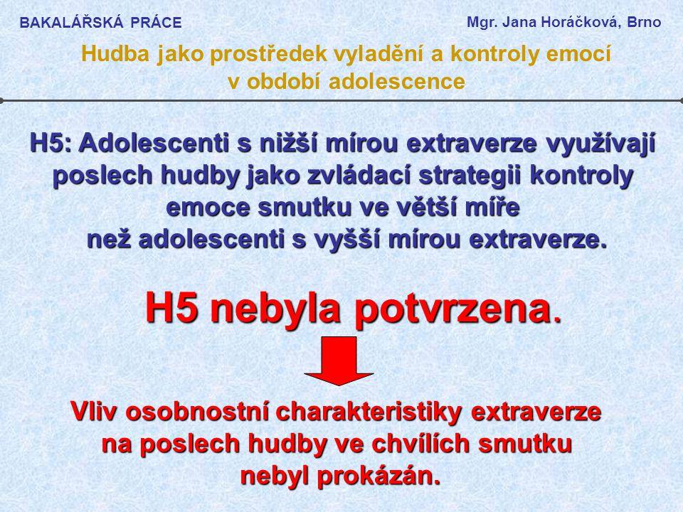 BAKALÁŘSKÁ PRÁCE Mgr. Jana Horáčková, Brno. Hudba jako prostředek vyladění a kontroly emocí v období adolescence.