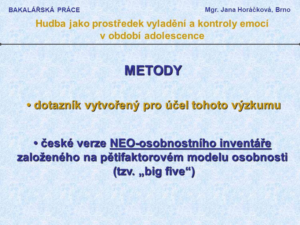 METODY • dotazník vytvořený pro účel tohoto výzkumu