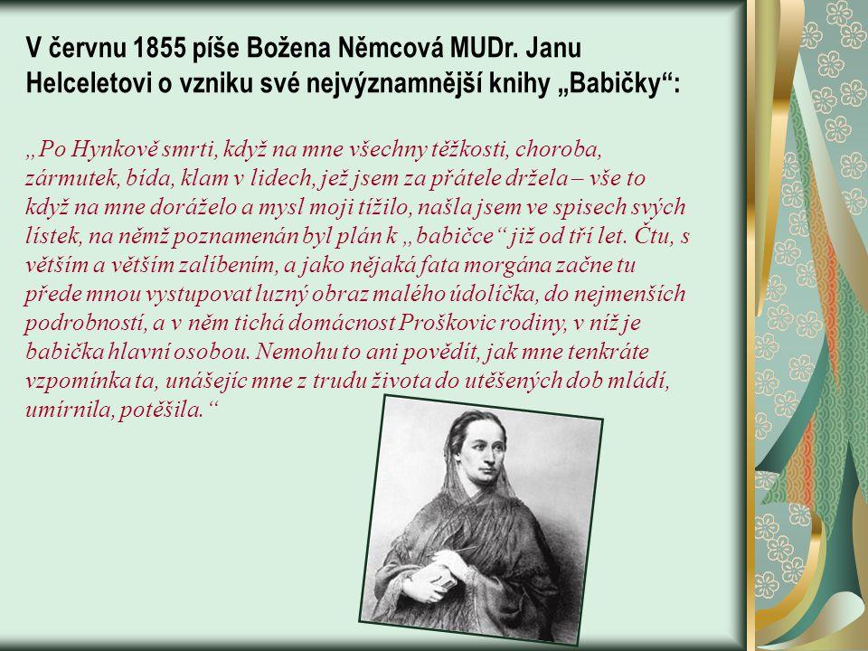 V červnu 1855 píše Božena Němcová MUDr