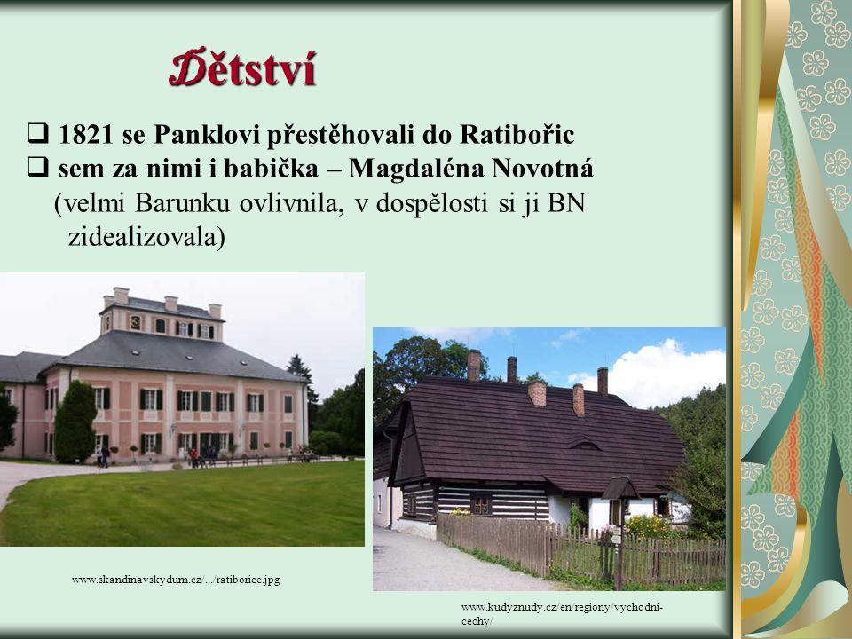 Dětství 1821 se Panklovi přestěhovali do Ratibořic