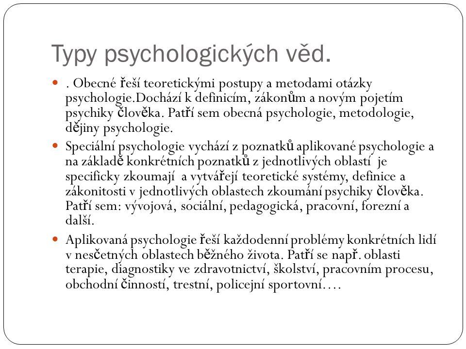 Typy psychologických věd.