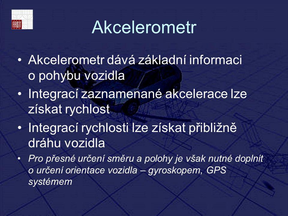 Akcelerometr Akcelerometr dává základní informaci o pohybu vozidla