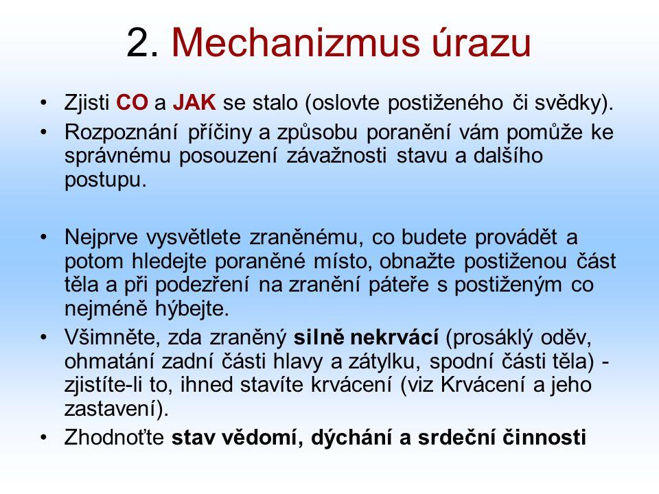 2. Mechanizmus úrazu Zjisti CO a JAK se stalo (oslovte postiženého či svědky).