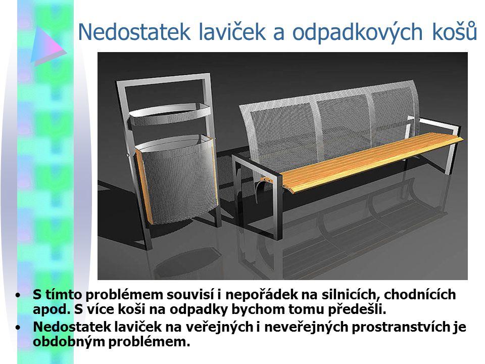 Nedostatek laviček a odpadkových košů
