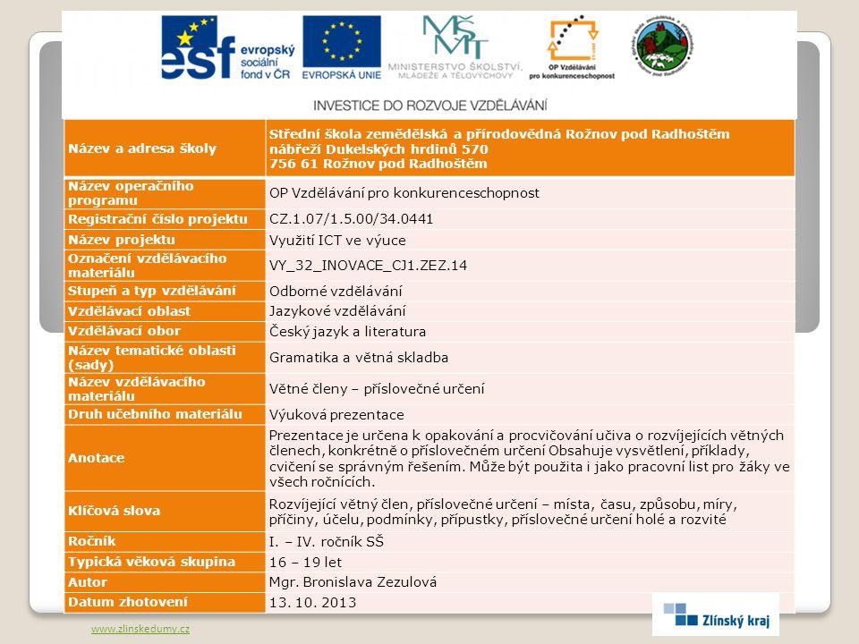 OP Vzdělávání pro konkurenceschopnost CZ.1.07/1.5.00/34.0441