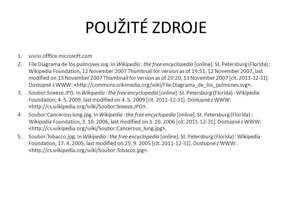 POUŽITÉ ZDROJE www.offfice.microsoft.com