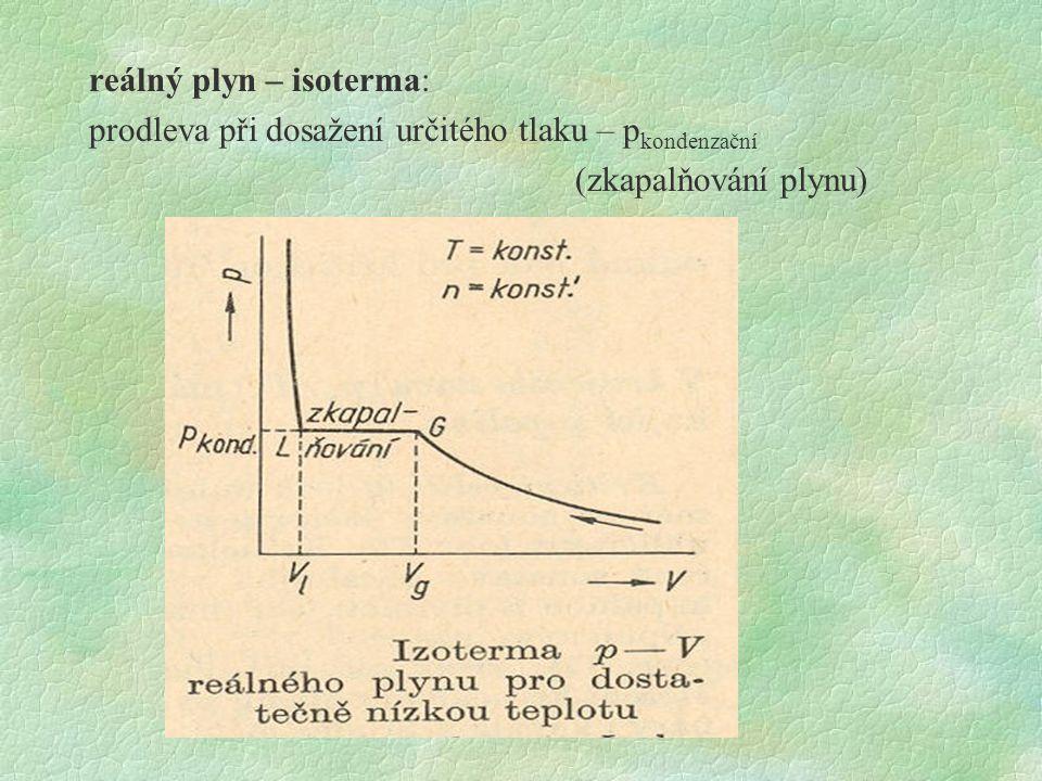reálný plyn – isoterma: prodleva při dosažení určitého tlaku – pkondenzační (zkapalňování plynu)