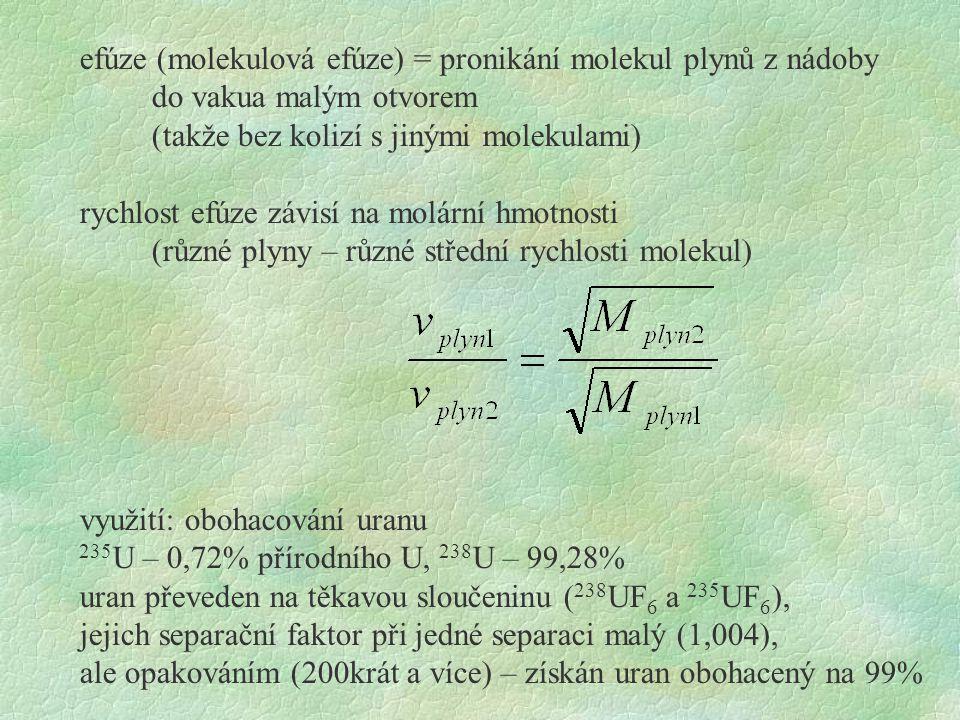 efúze (molekulová efúze) = pronikání molekul plynů z nádoby
