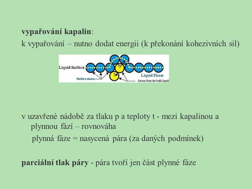 vypařování kapalin: k vypařování – nutno dodat energii (k překonání kohezivních sil) v uzavřené nádobě za tlaku p a teploty t - mezi kapalinou a plynnou fází – rovnováha plynná fáze = nasycená pára (za daných podmínek) parciální tlak páry - pára tvoří jen část plynné fáze