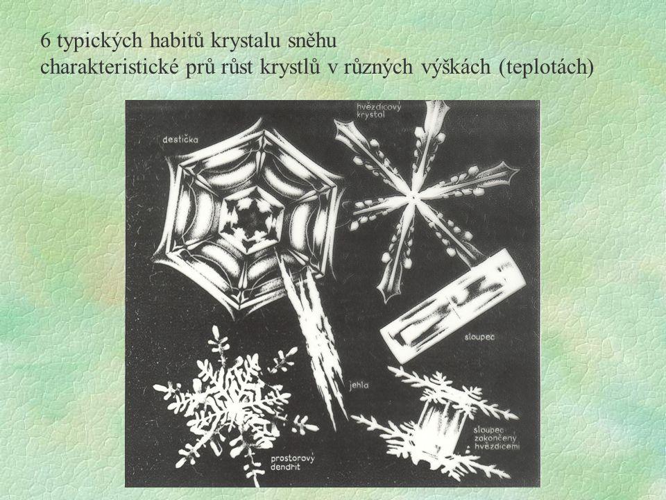 6 typických habitů krystalu sněhu