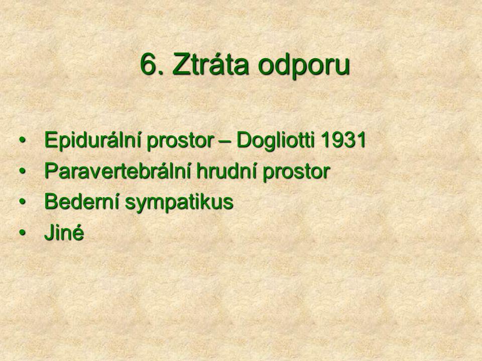 6. Ztráta odporu Epidurální prostor – Dogliotti 1931