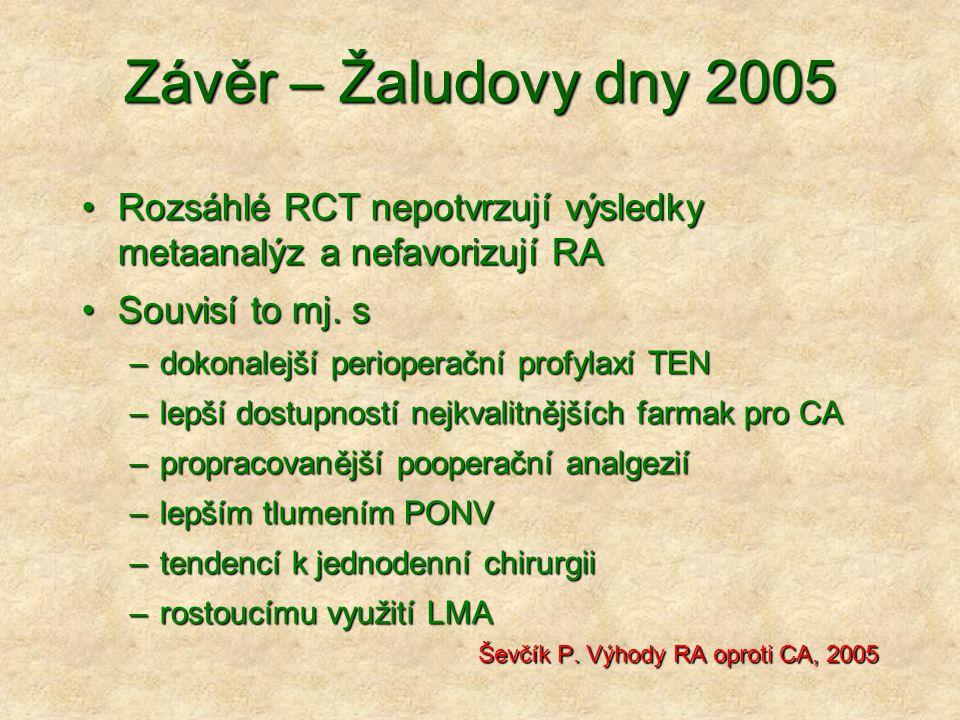 Závěr – Žaludovy dny 2005 Rozsáhlé RCT nepotvrzují výsledky metaanalýz a nefavorizují RA. Souvisí to mj. s.