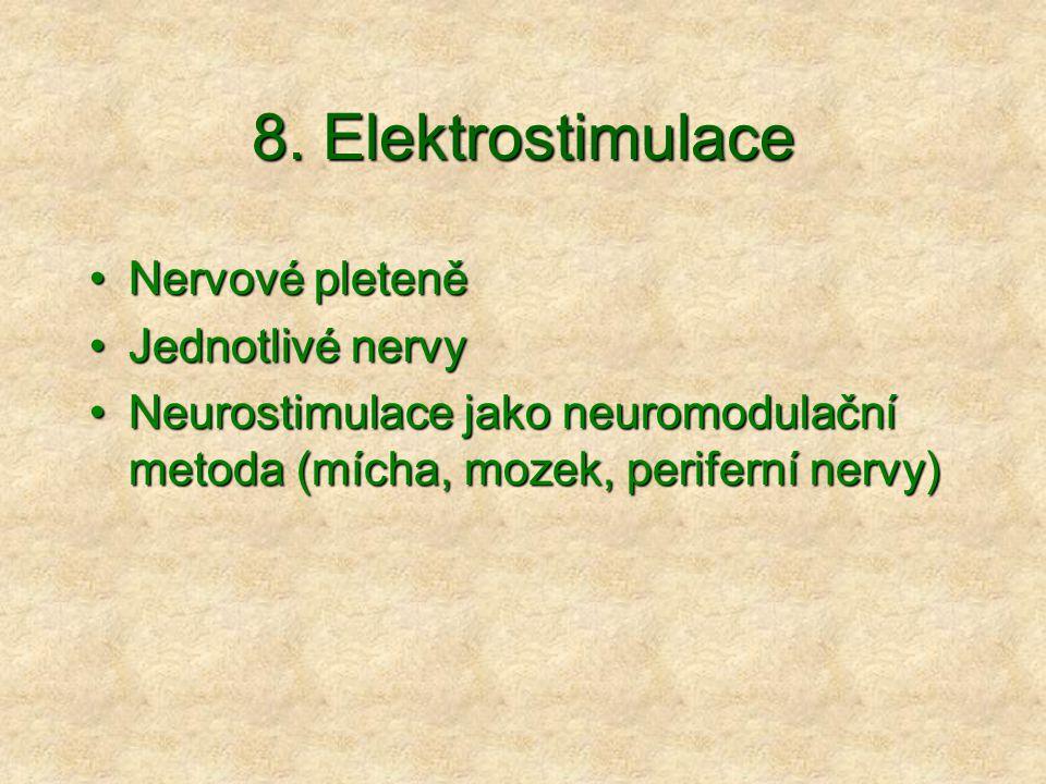 8. Elektrostimulace Nervové pleteně Jednotlivé nervy