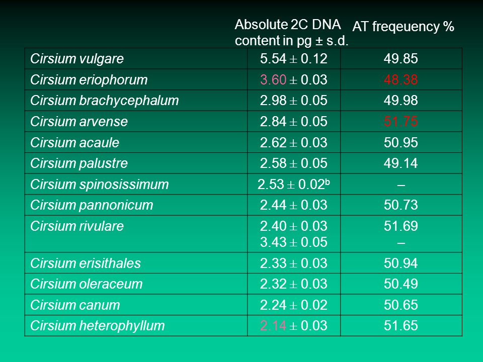 Absolute 2C DNA content in pg ± s.d.