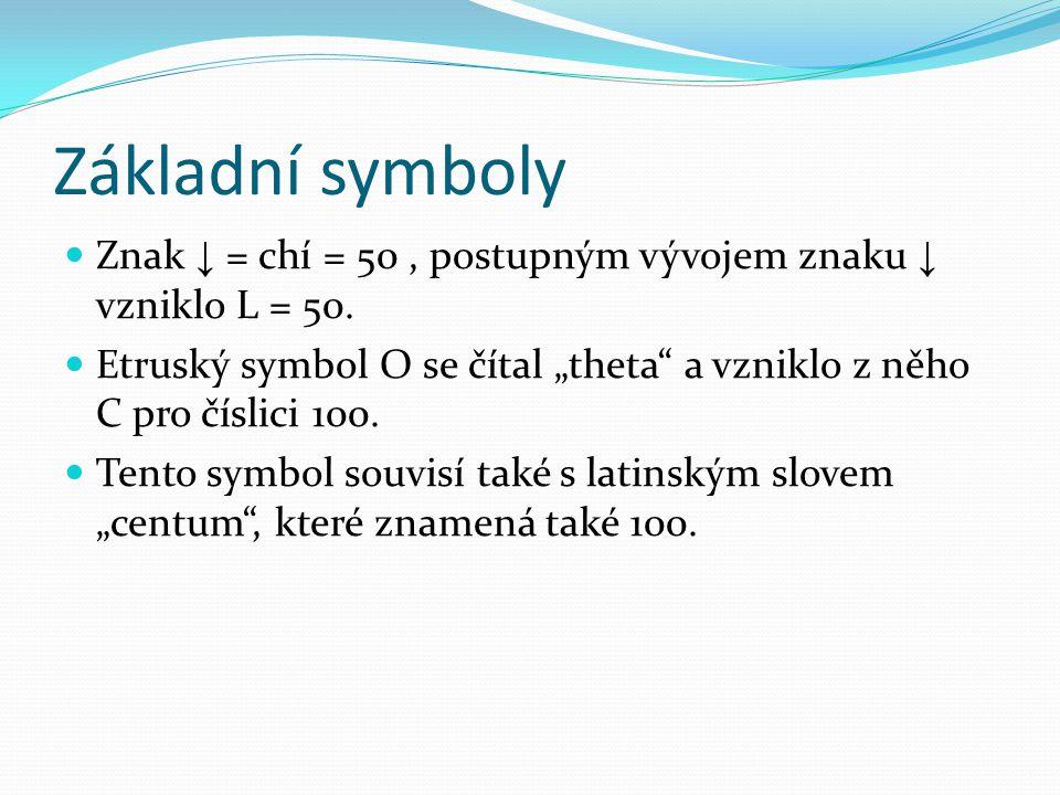 """Základní symboly Znak ↓ = chí = 50 , postupným vývojem znaku ↓ vzniklo L = 50. Etruský symbol О se čítal """"theta a vzniklo z něho C pro číslici 100."""