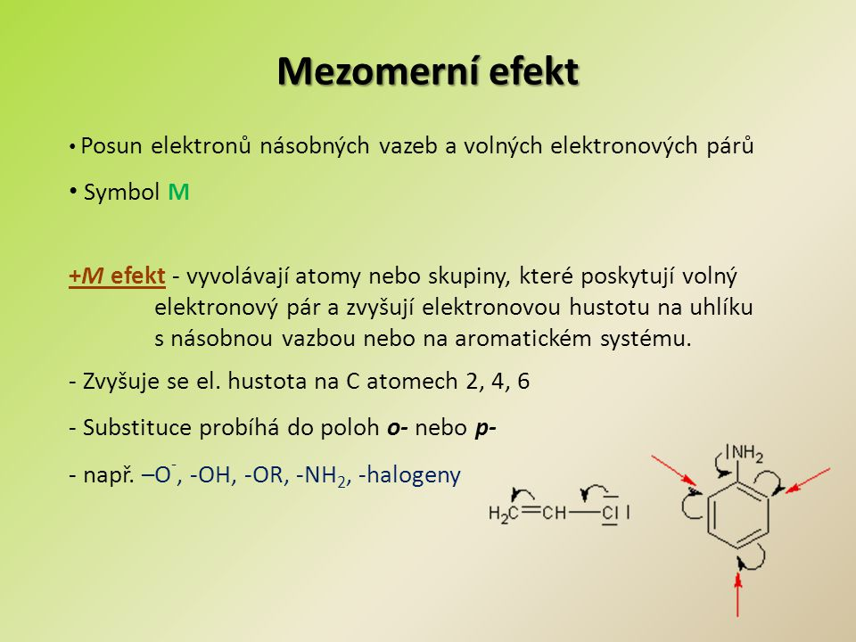 Mezomerní efekt Symbol M