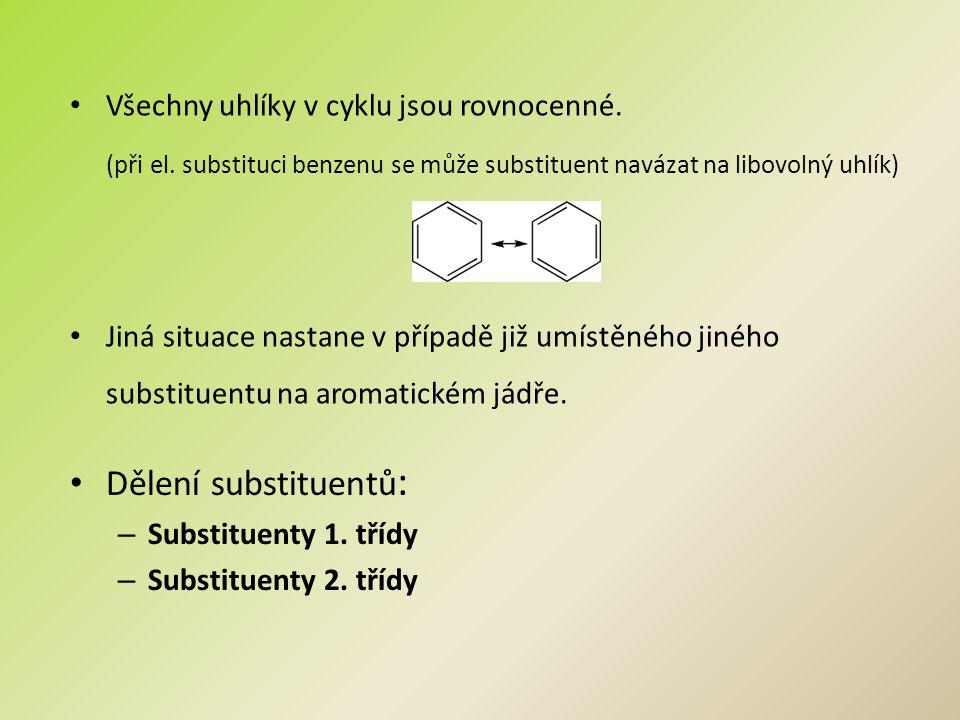 Dělení substituentů: Všechny uhlíky v cyklu jsou rovnocenné.