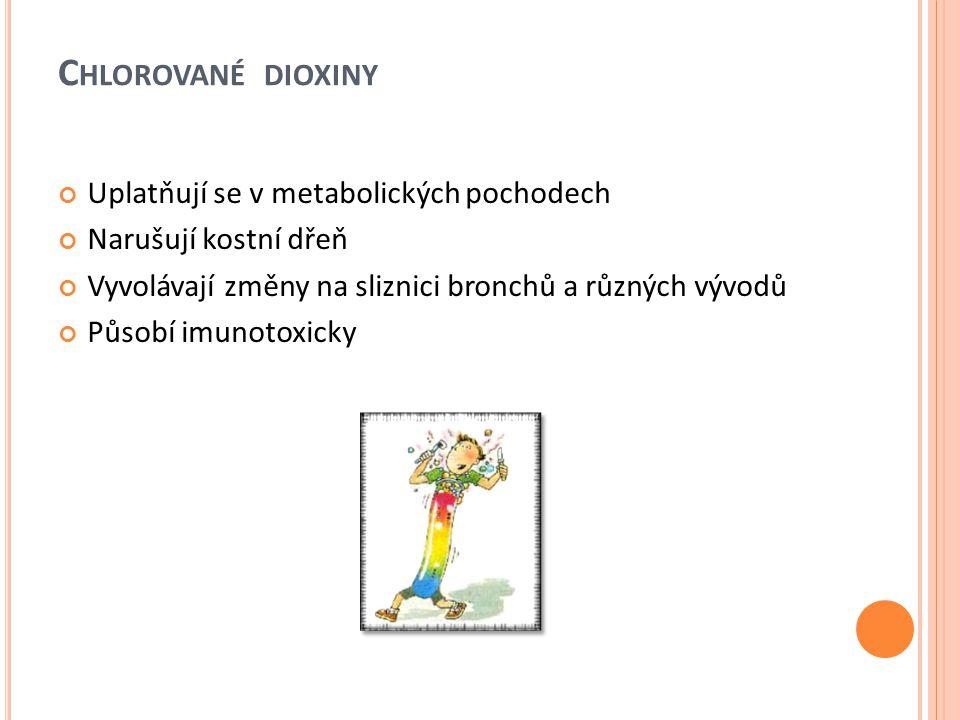 Chlorované dioxiny Uplatňují se v metabolických pochodech