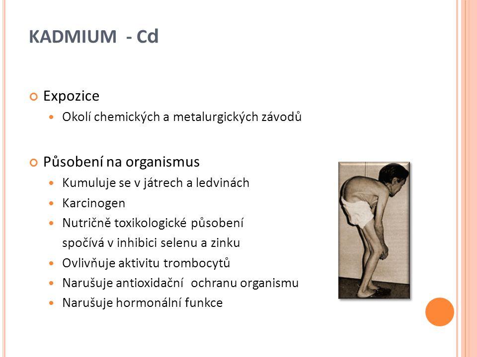 KADMIUM - Cd Expozice Působení na organismus