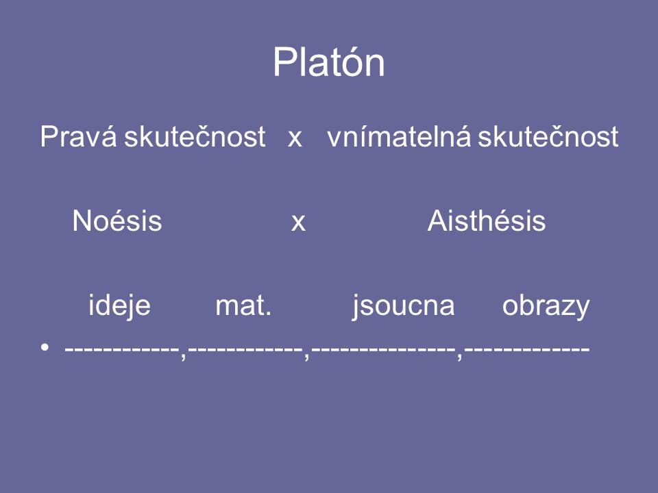 Platón Pravá skutečnost x vnímatelná skutečnost Noésis x Aisthésis