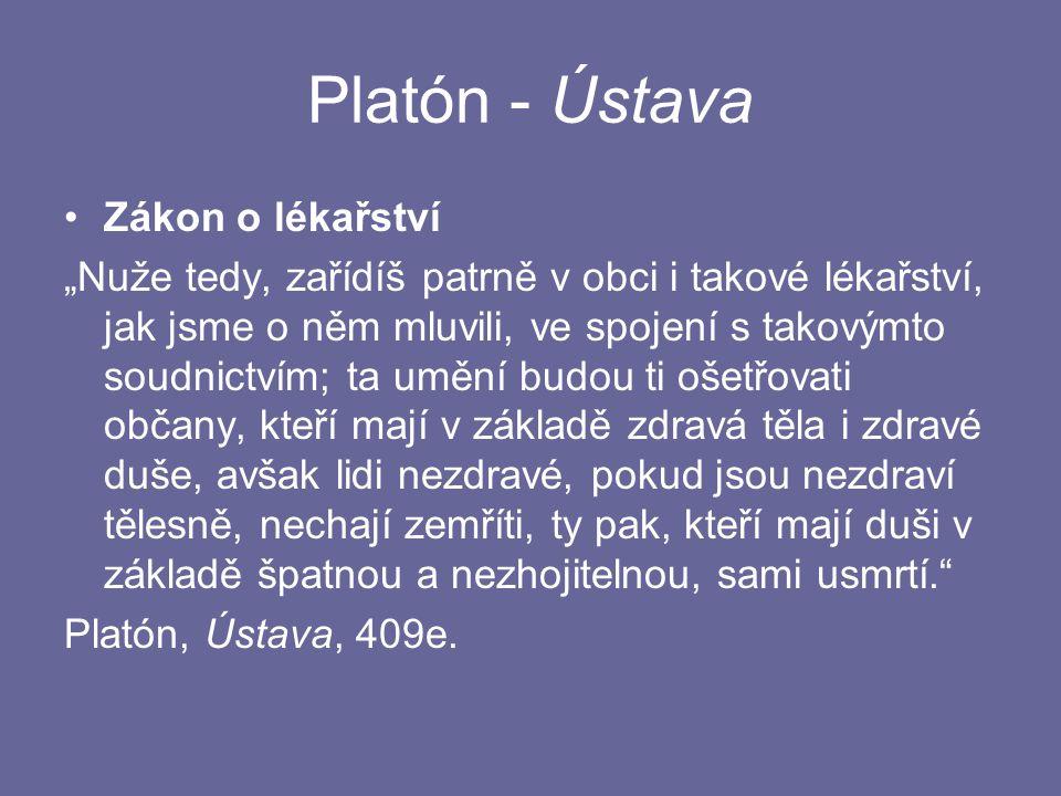 Platón - Ústava Zákon o lékařství