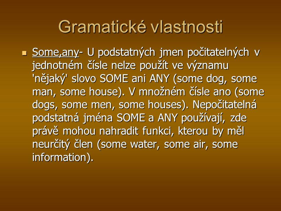 Gramatické vlastnosti