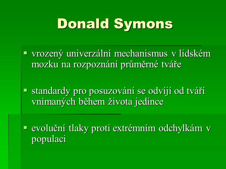 Donald Symons vrozený univerzální mechanismus v lidském mozku na rozpoznání průměrné tváře.