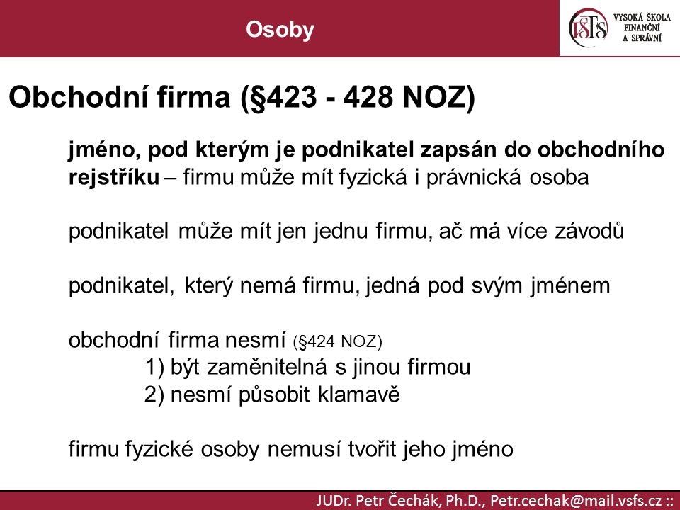 Obchodní firma (§423 - 428 NOZ)