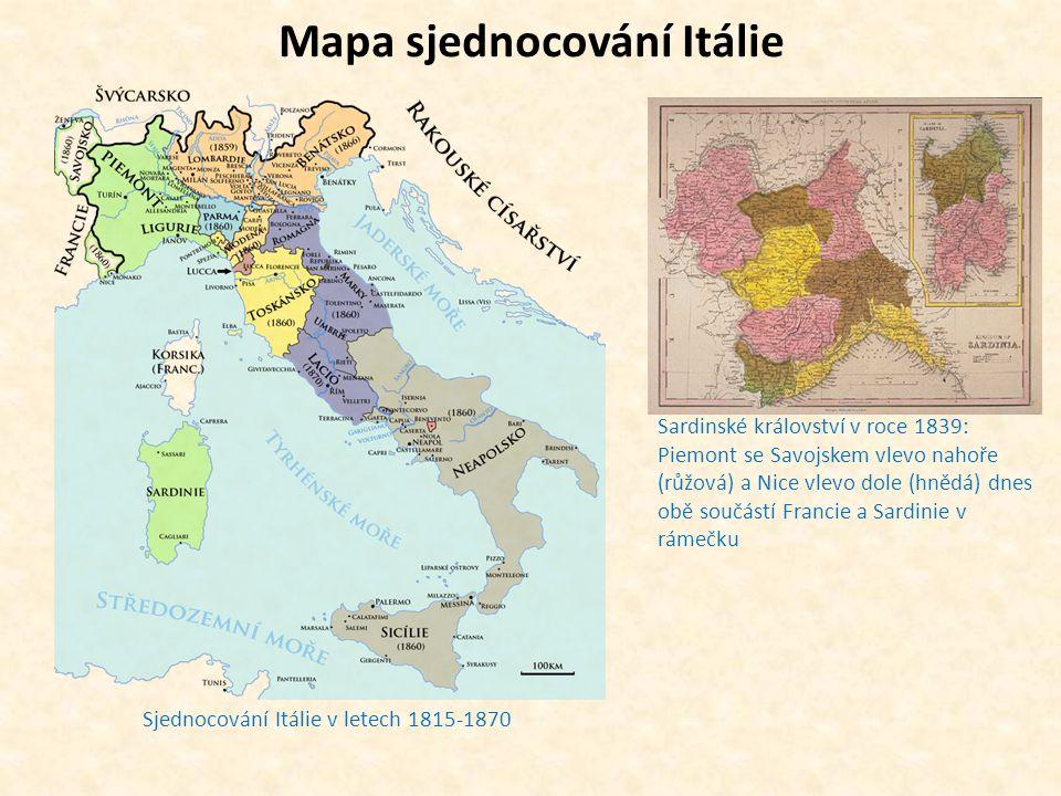 Mapa sjednocování Itálie