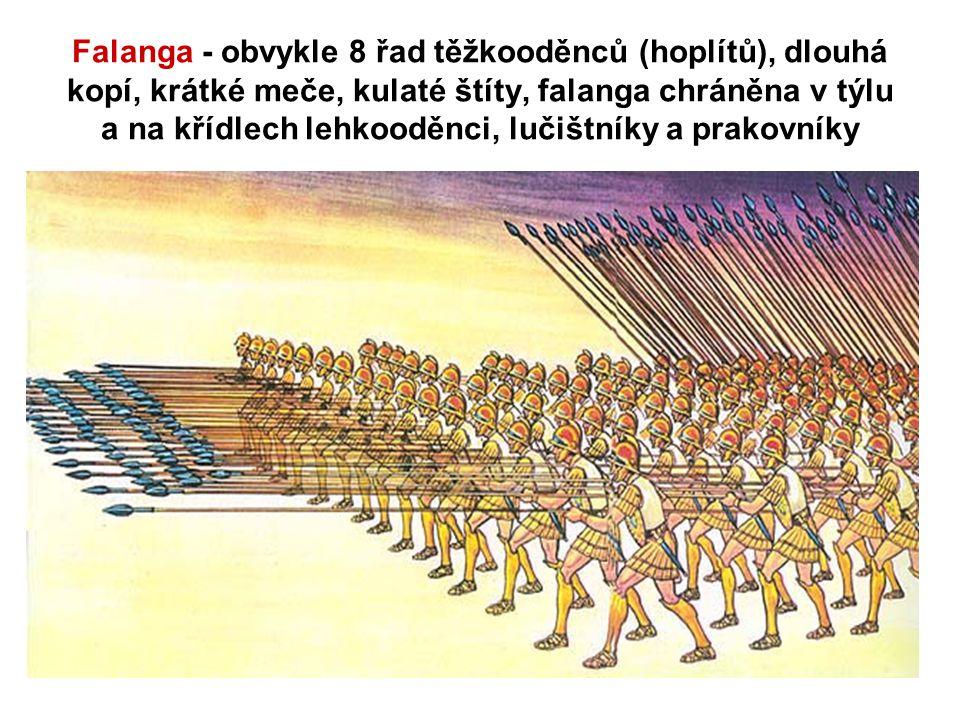 Falanga - obvykle 8 řad těžkooděnců (hoplítů), dlouhá kopí, krátké meče, kulaté štíty, falanga chráněna v týlu a na křídlech lehkooděnci, lučištníky a prakovníky