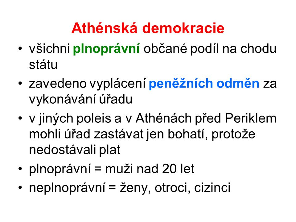 Athénská demokracie všichni plnoprávní občané podíl na chodu státu