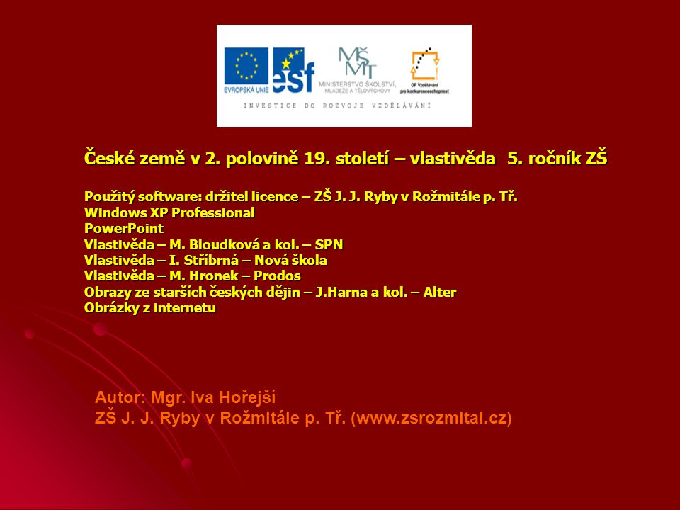 České země v 2. polovině 19. století – vlastivěda 5. ročník ZŠ