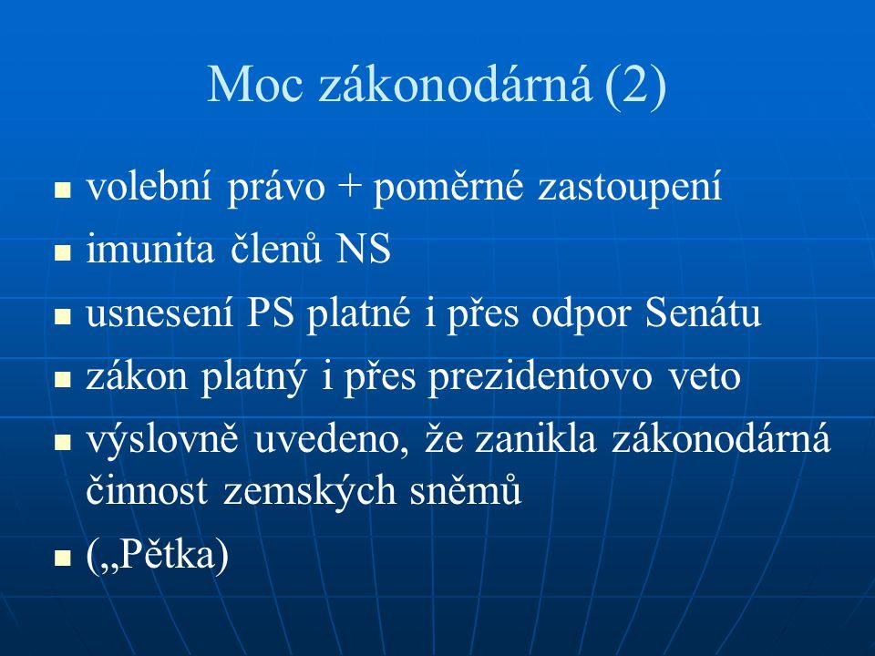 Moc zákonodárná (2) volební právo + poměrné zastoupení