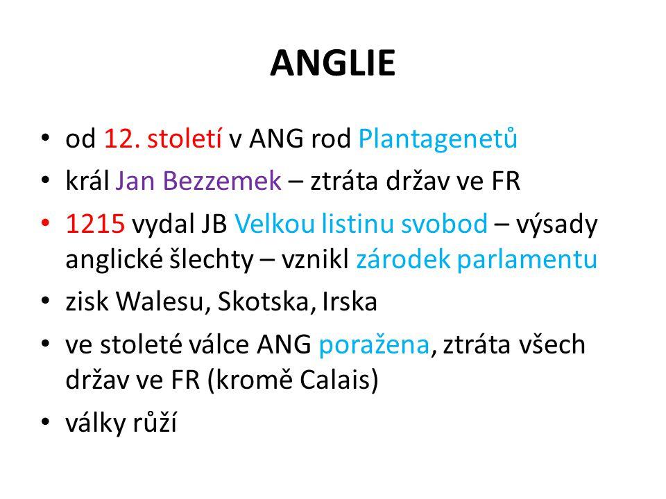 ANGLIE od 12. století v ANG rod Plantagenetů