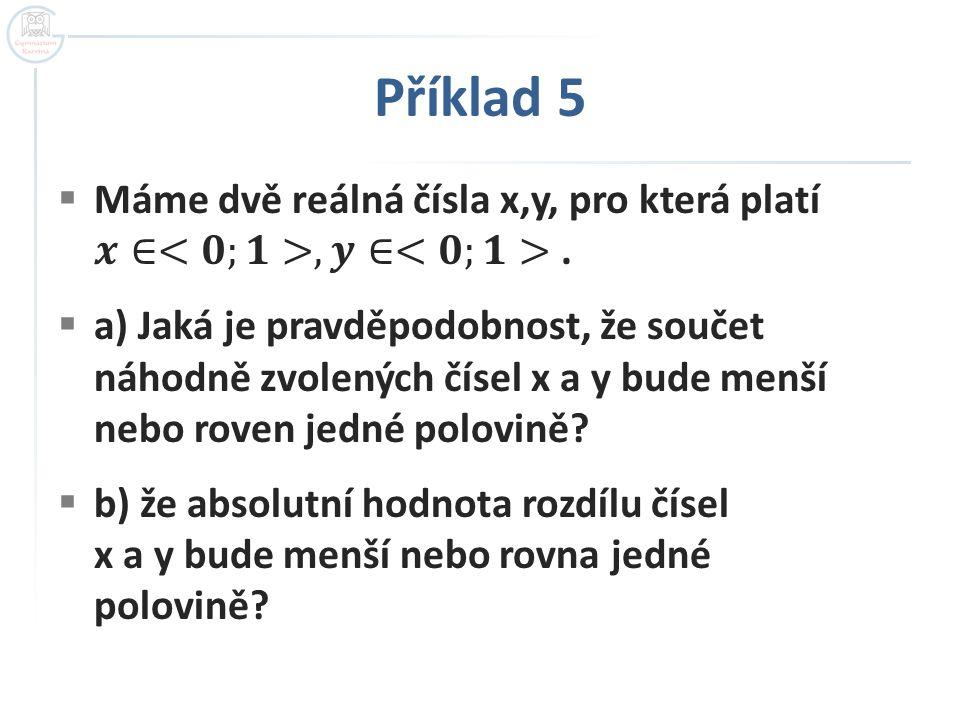 Příklad 5 Máme dvě reálná čísla x,y, pro která platí 𝒙∈<𝟎;𝟏>, 𝒚∈<𝟎;𝟏> .