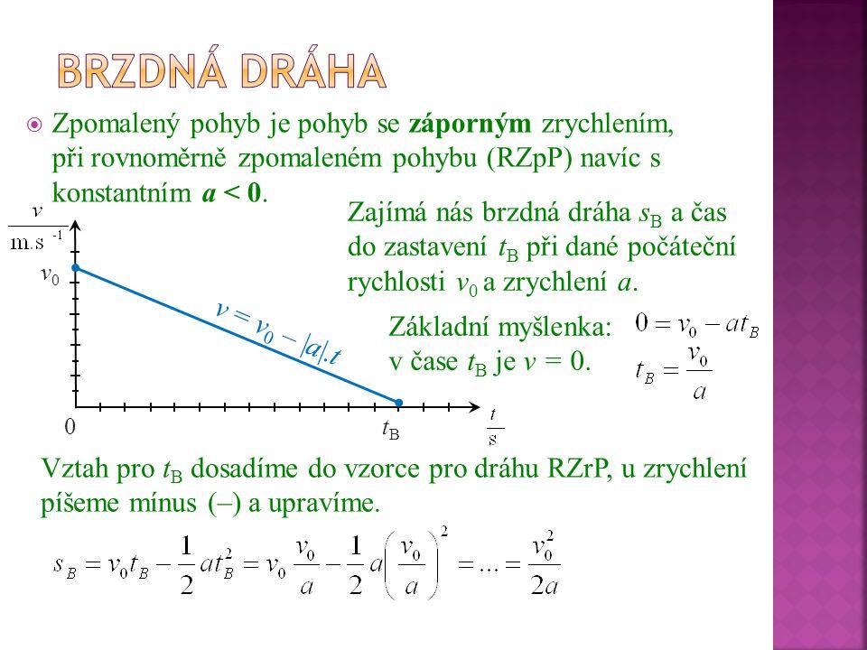 Brzdná dráha Zpomalený pohyb je pohyb se záporným zrychlením, při rovnoměrně zpomaleném pohybu (RZpP) navíc s konstantním a < 0.