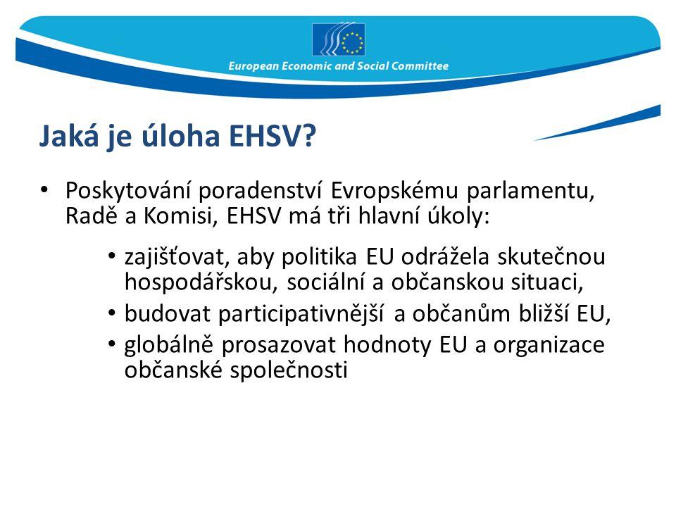 Jaká je úloha EHSV Poskytování poradenství Evropskému parlamentu, Radě a Komisi, EHSV má tři hlavní úkoly: