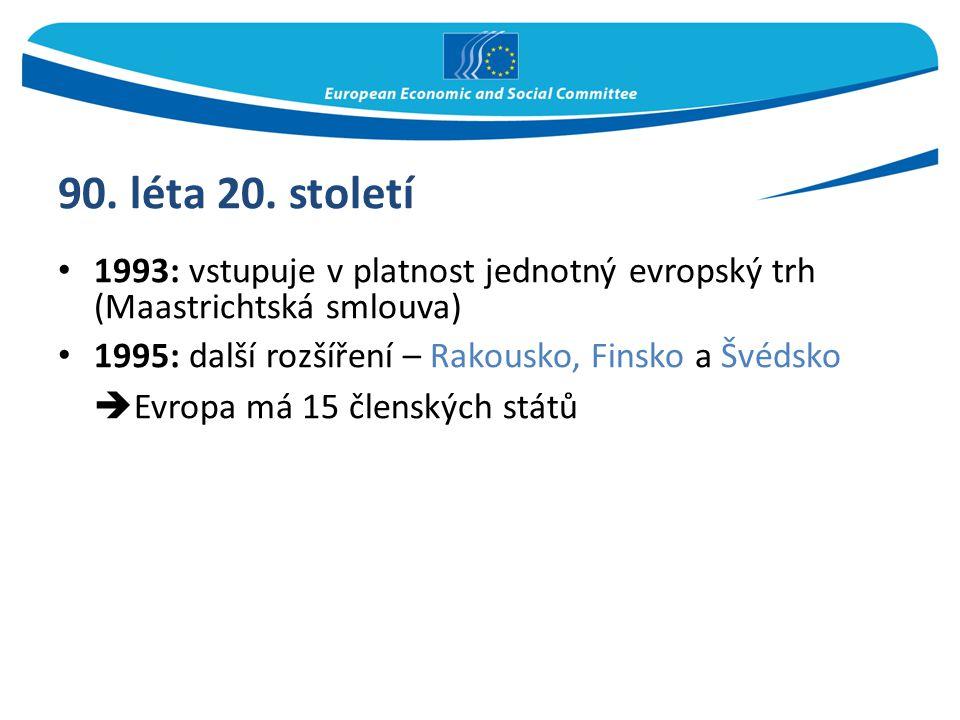 90. léta 20. století Evropa má 15 členských států