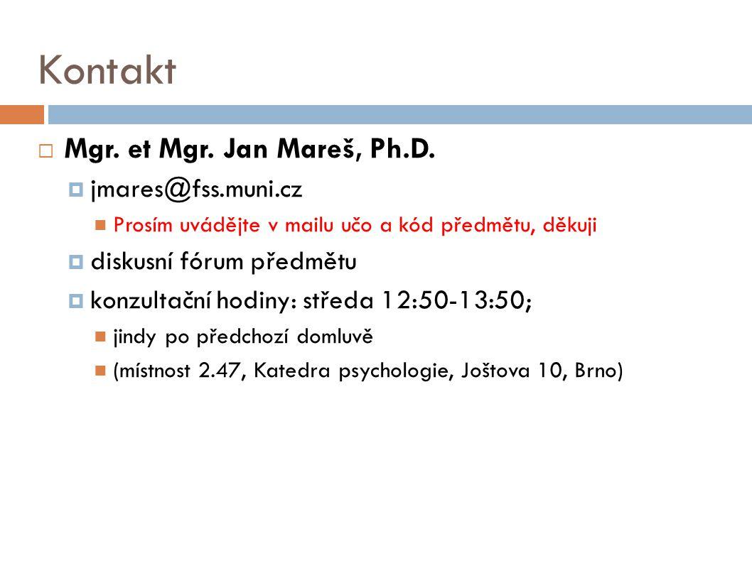 Kontakt Mgr. et Mgr. Jan Mareš, Ph.D. jmares@fss.muni.cz