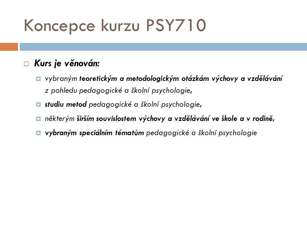 Koncepce kurzu PSY710 Kurs je věnován: