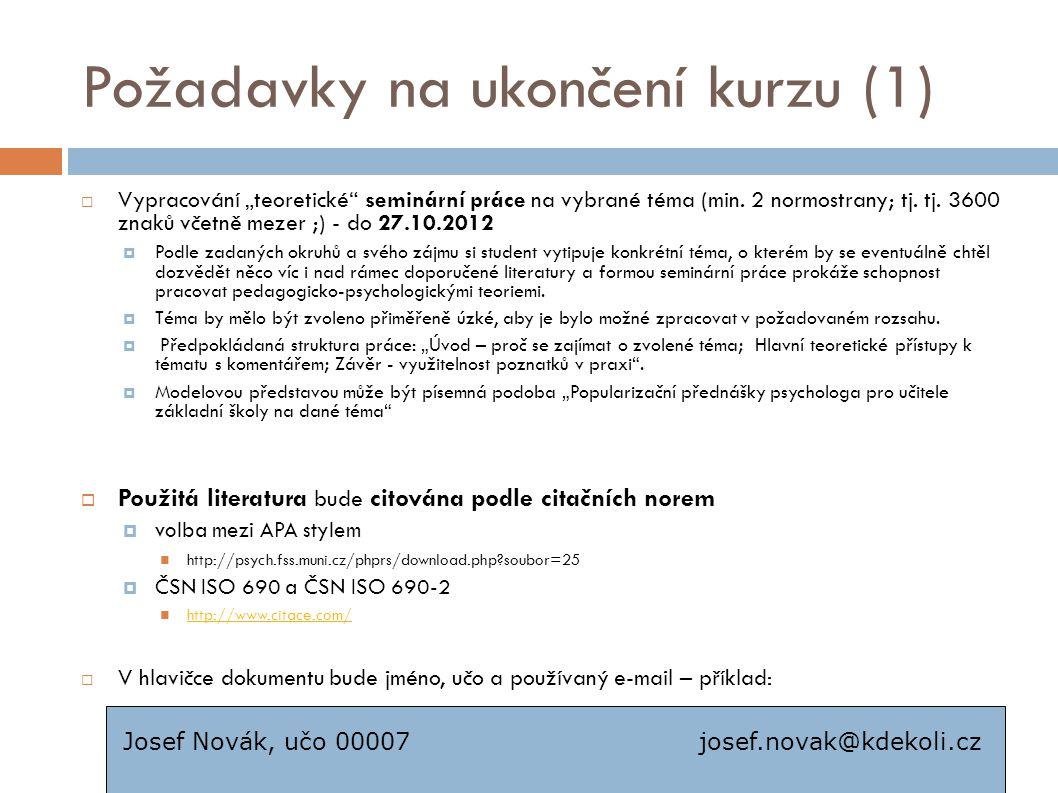 Požadavky na ukončení kurzu (1)