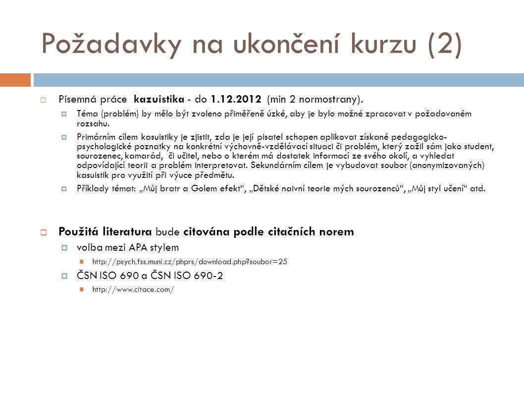 Požadavky na ukončení kurzu (2)
