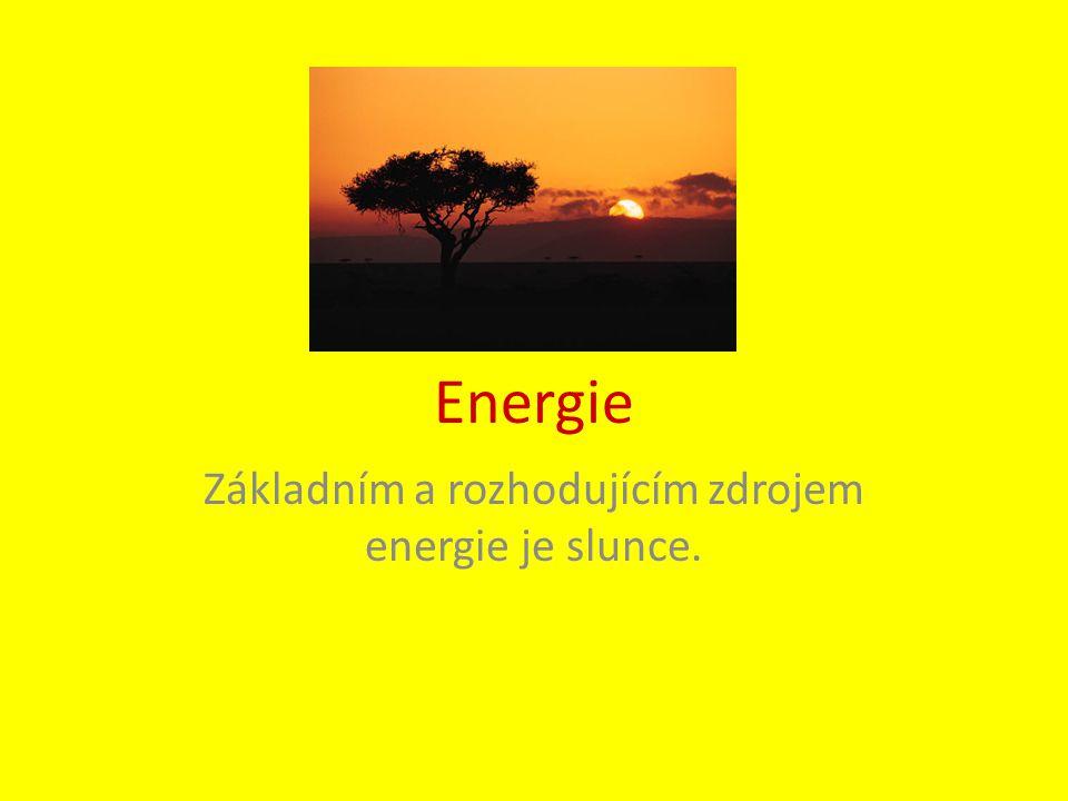 Základním a rozhodujícím zdrojem energie je slunce.