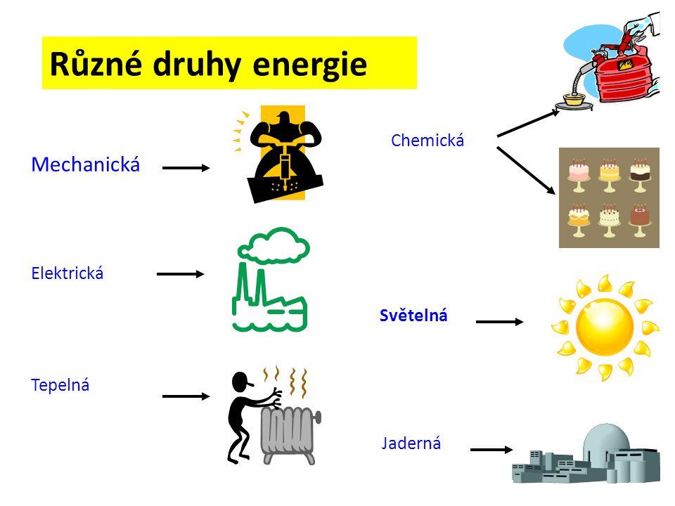 Různé druhy energie Mechanická Chemická Elektrická Světelná Tepelná