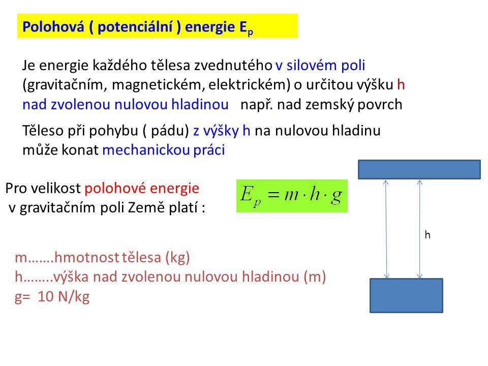 Polohová ( potenciální ) energie Ep